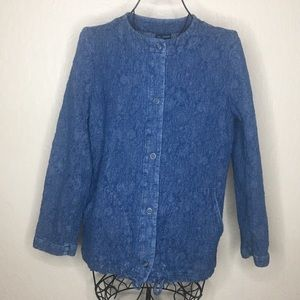 Pure J. Jill indigo quilted denim jacket #476